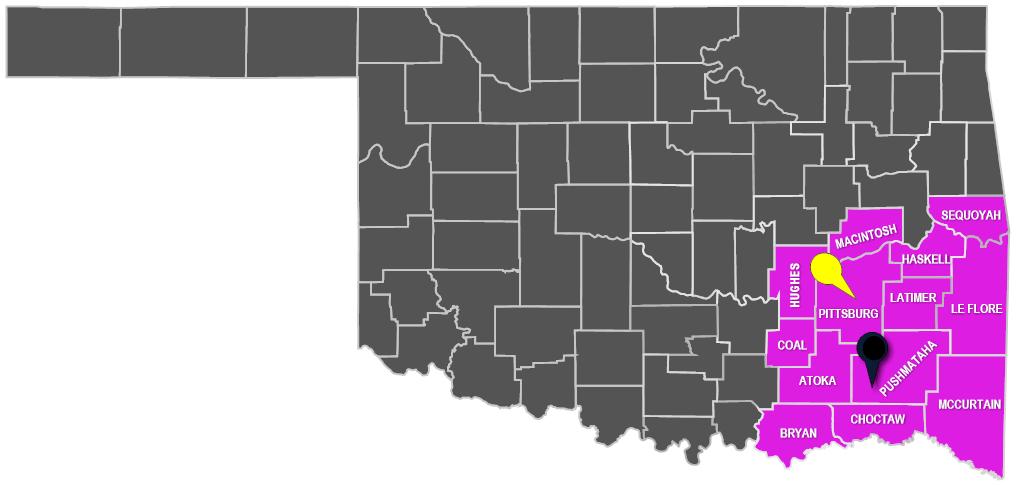 INVESTIGATIVE REGION 6 SE MAP | Oklahoma State Bureau of